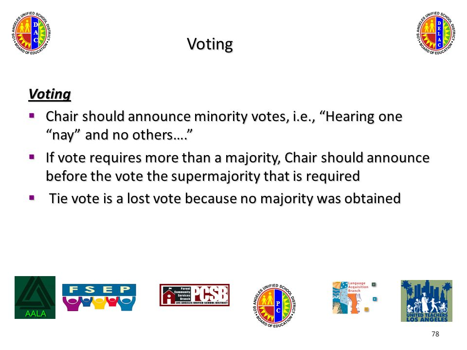 DELACDELAC DACDAC PCPC Voting Voting  Chair should announce minority votes, i.e., Hearing one nay and no others….  If vote requires more than a majority, Chair should announce before the vote the supermajority that is required  Tie vote is a lost vote because no majority was obtained 78