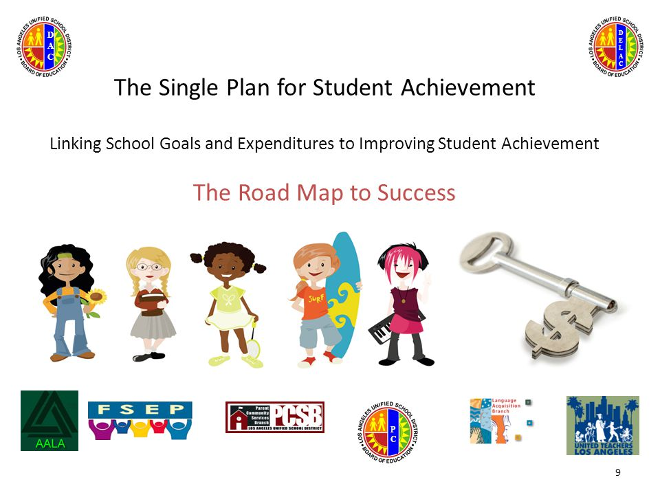 DELACDELAC DACDAC PCPC The Single Plan for Student Achievement Linking School Goals and Expenditures to Improving Student Achievement The Road Map to Success 9