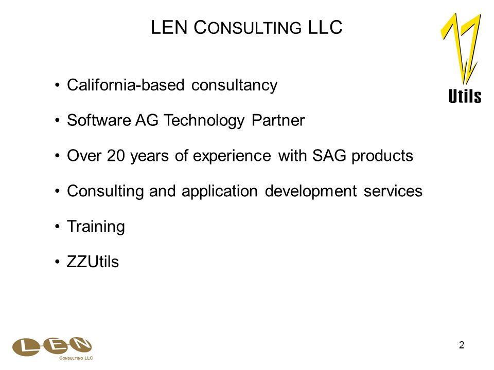 2 Over 20 years of experience with SAG products California-based consultancy LEN C ONSULTING LLC ZZUtils Consulting and application development services Training Software AG Technology Partner