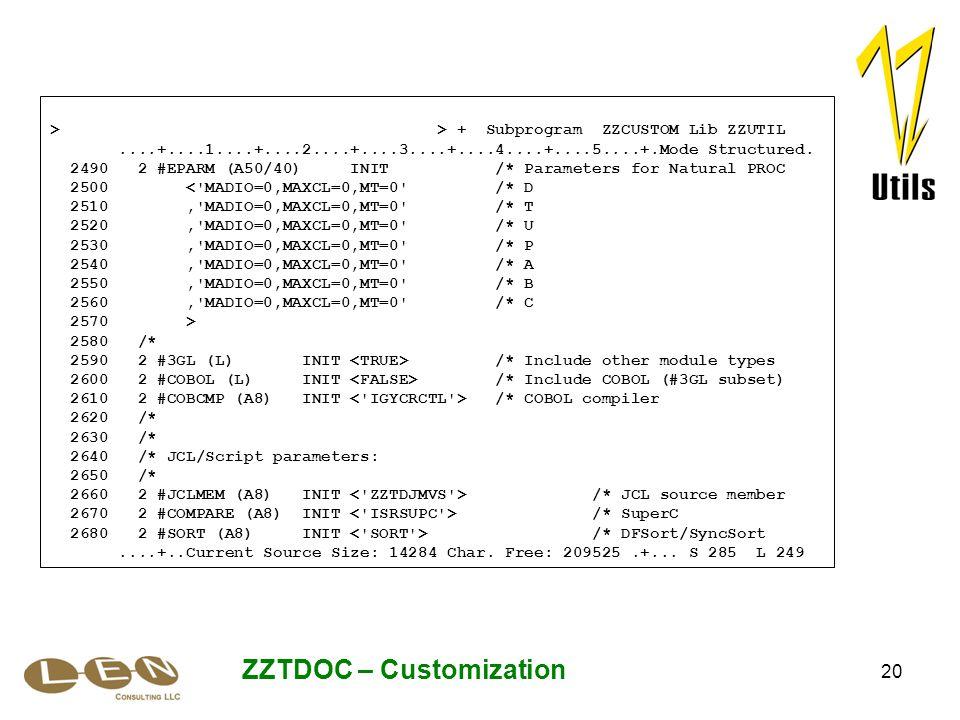 20 ZZTDOC – Customization > > + Subprogram ZZCUSTOM Lib ZZUTIL....+....1....+....2....+....3....+....4....+....5....+.Mode Structured.