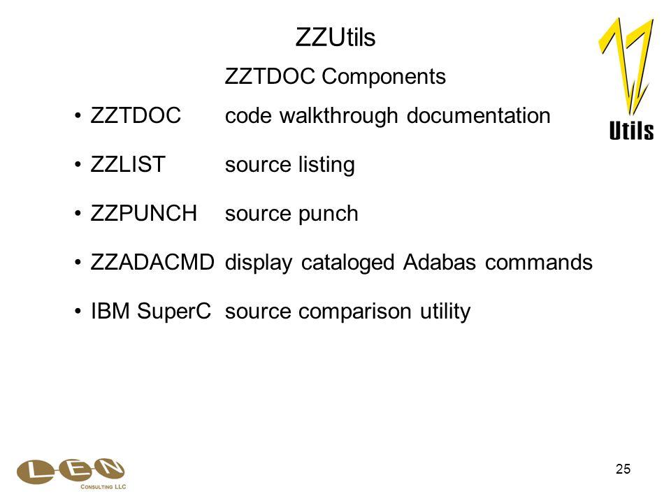 25 ZZPUNCHsource punch ZZTDOCcode walkthrough documentation ZZLISTsource listing ZZUtils ZZTDOC Components ZZADACMDdisplay cataloged Adabas commands IBM SuperCsource comparison utility