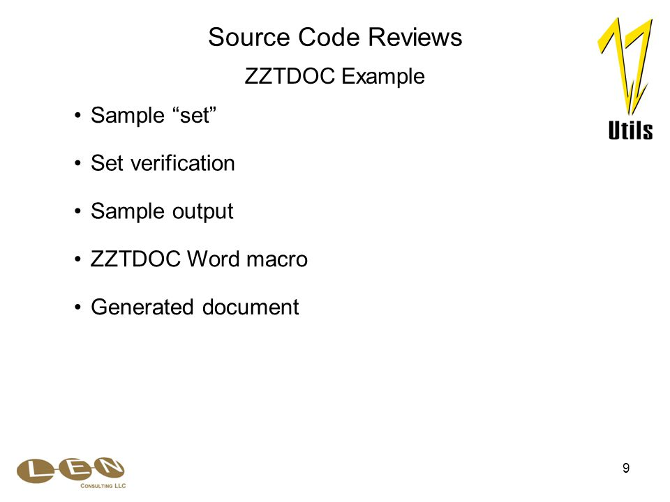 """9 Sample output Sample """"set"""" Set verification Source Code Reviews ZZTDOC Example ZZTDOC Word macro Generated document"""