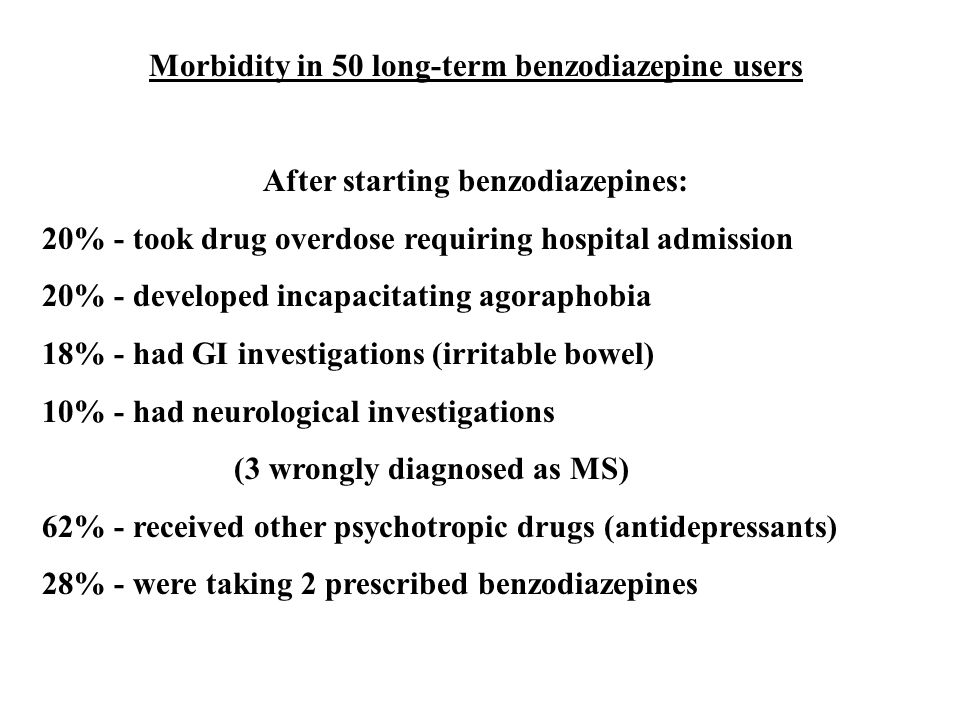 Morbidity in 50 long-term benzodiazepine users After starting benzodiazepines: 20% - took drug overdose requiring hospital admission 20% - developed incapacitating agoraphobia 18% - had GI investigations (irritable bowel) 10% - had neurological investigations (3 wrongly diagnosed as MS) 62% - received other psychotropic drugs (antidepressants) 28% - were taking 2 prescribed benzodiazepines