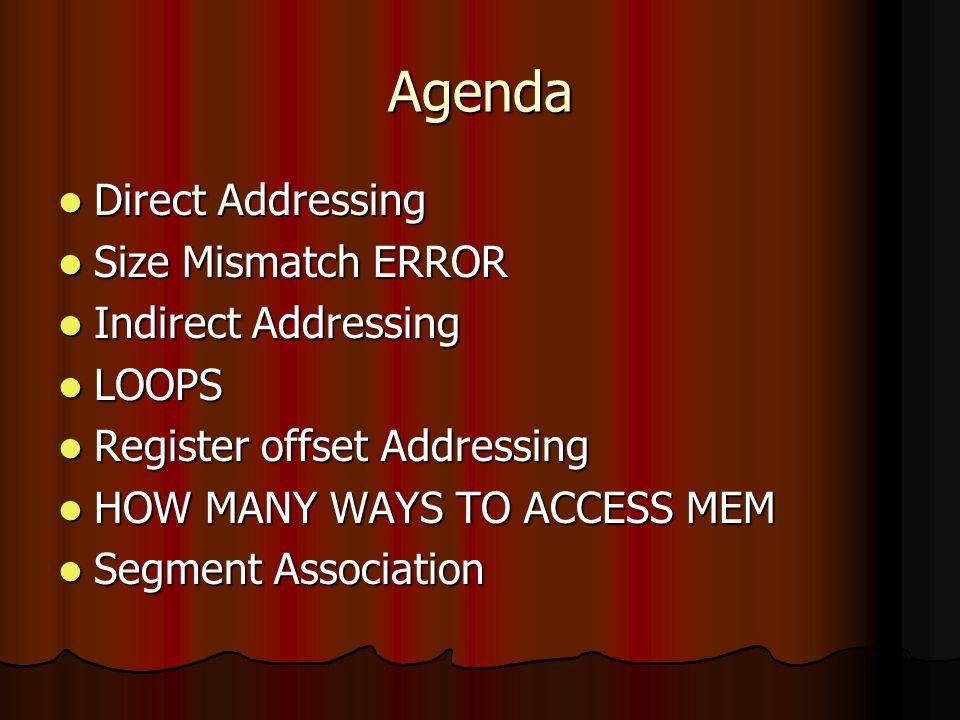 Agenda Direct Addressing Direct Addressing Size Mismatch ERROR Size Mismatch ERROR Indirect Addressing Indirect Addressing LOOPS LOOPS Register offset