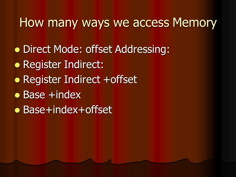 Total Seven Adressing Modes SEVEN WAYS TO ACCESS THE MEMORY SEVEN WAYS TO ACCESS THE MEMORY