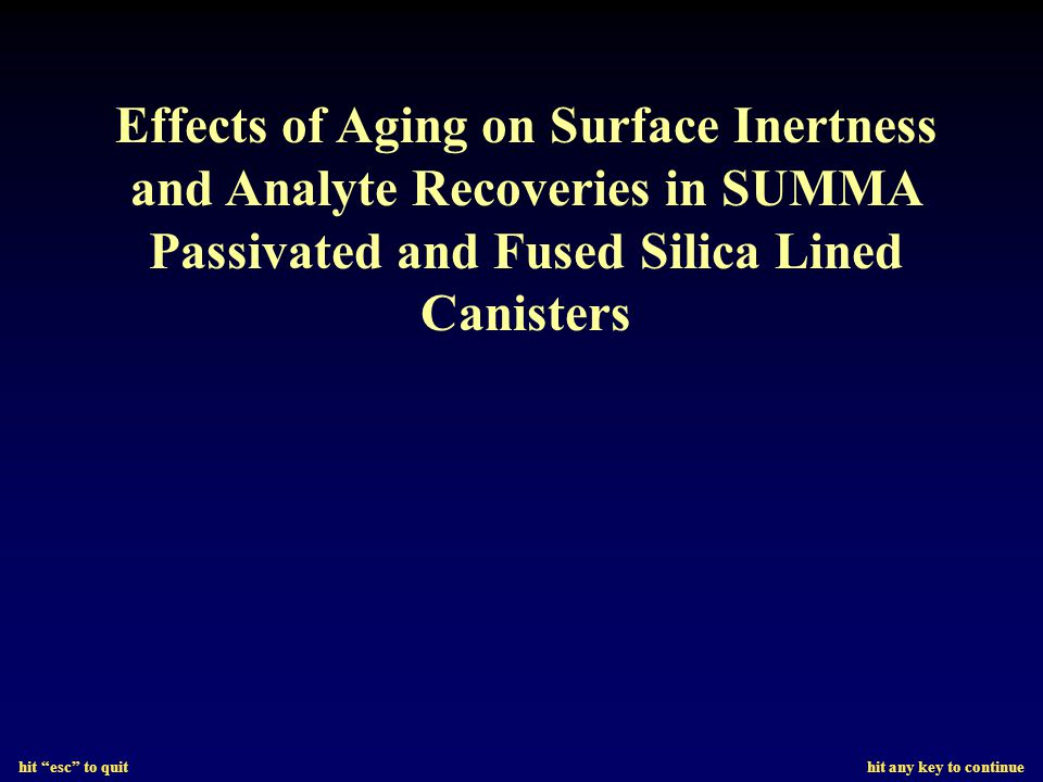 hit esc to quit hit any key to continue Effects of Aging on Surface Inertness and Analyte Recoveries in SUMMA Passivated and Fused Silica Lined Canisters
