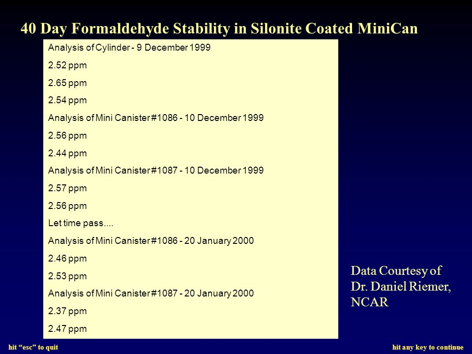 hit esc to quit hit any key to continue New Silonite CanisterUsed SUMMA Canister 10 PPB TO14 Std 5 PSIG Holding Time - 1 Day 1-Day TO14 Stability Test @ 10PPB