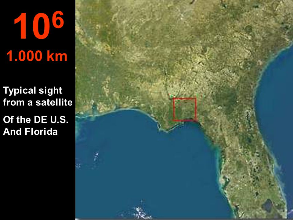 At this height, the NW part of the State of Flórida - USA, can be seen.. 10 5 100 km