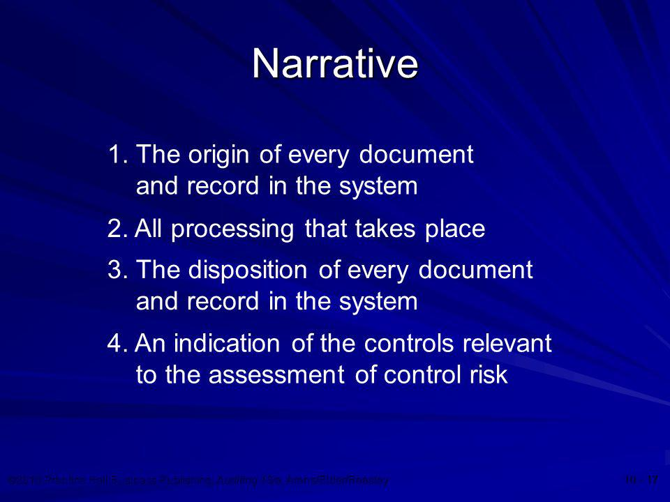 ©2010 Prentice Hall Business Publishing, Auditing 13/e, Arens/Elder/Beasley 10 - 17 Narrative 1. The origin of every document and record in the system