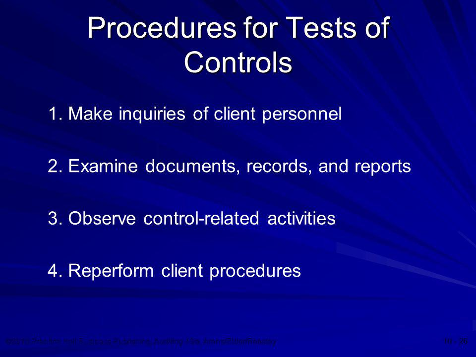 ©2010 Prentice Hall Business Publishing, Auditing 13/e, Arens/Elder/Beasley 10 - 26 Procedures for Tests of Controls 1. Make inquiries of client perso