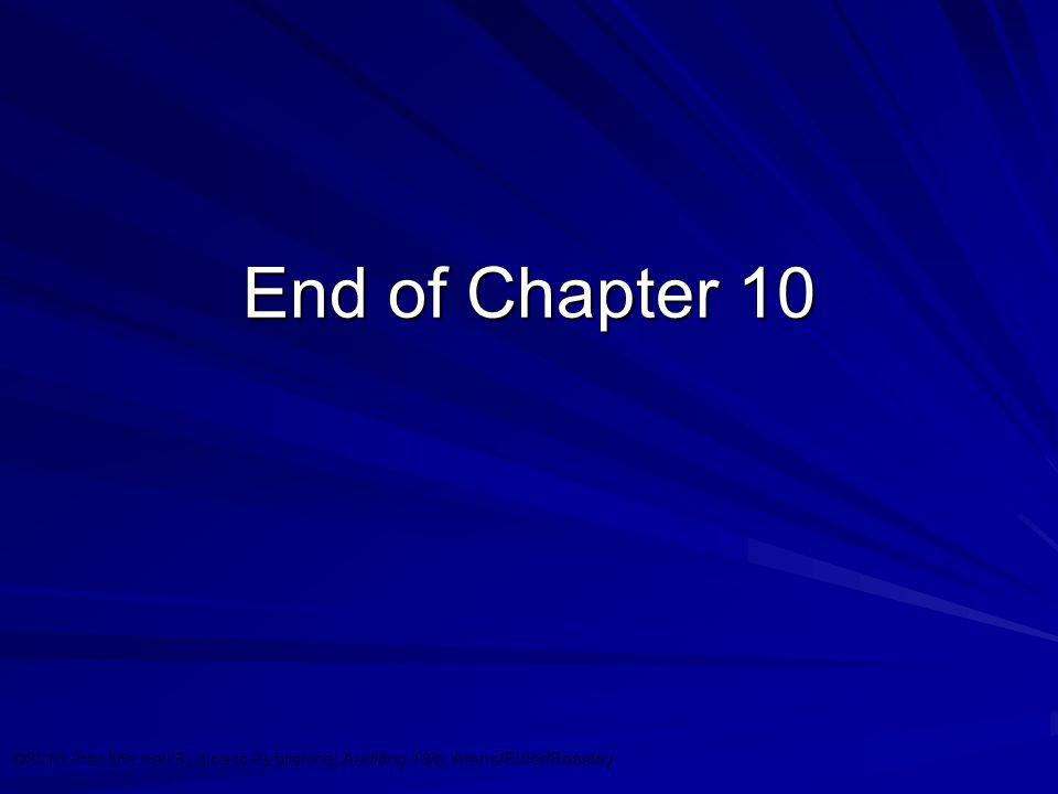 ©2010 Prentice Hall Business Publishing, Auditing 13/e, Arens/Elder/Beasley 10 - 29 End of Chapter 10