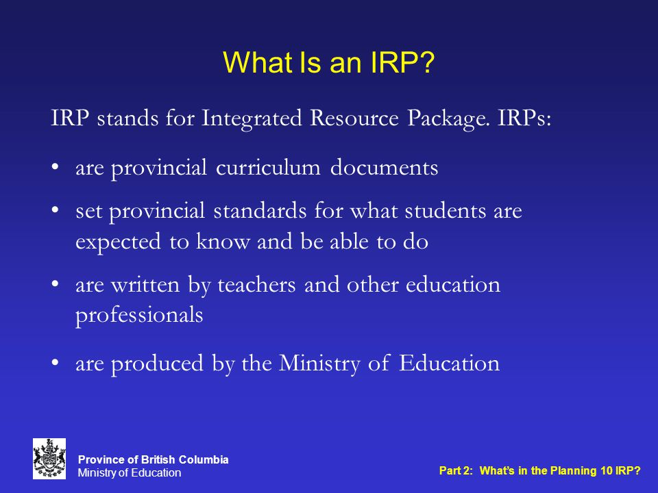What Is an IRP.
