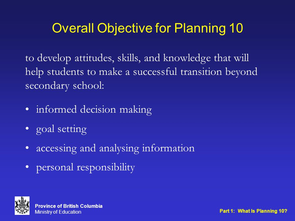 Overall Objective for Planning 10 informed decision making goal setting accessing and analysing information personal responsibility to develop attitudes, skills, and knowledge that will help students to make a successful transition beyond secondary school: Part 1: What Is Planning 10.