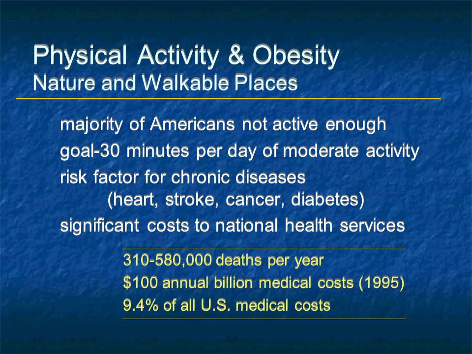 Physical Activity & Obesity Nature and Walkable Places majority of Americans not active enough goal-30 minutes per day of moderate activity risk facto