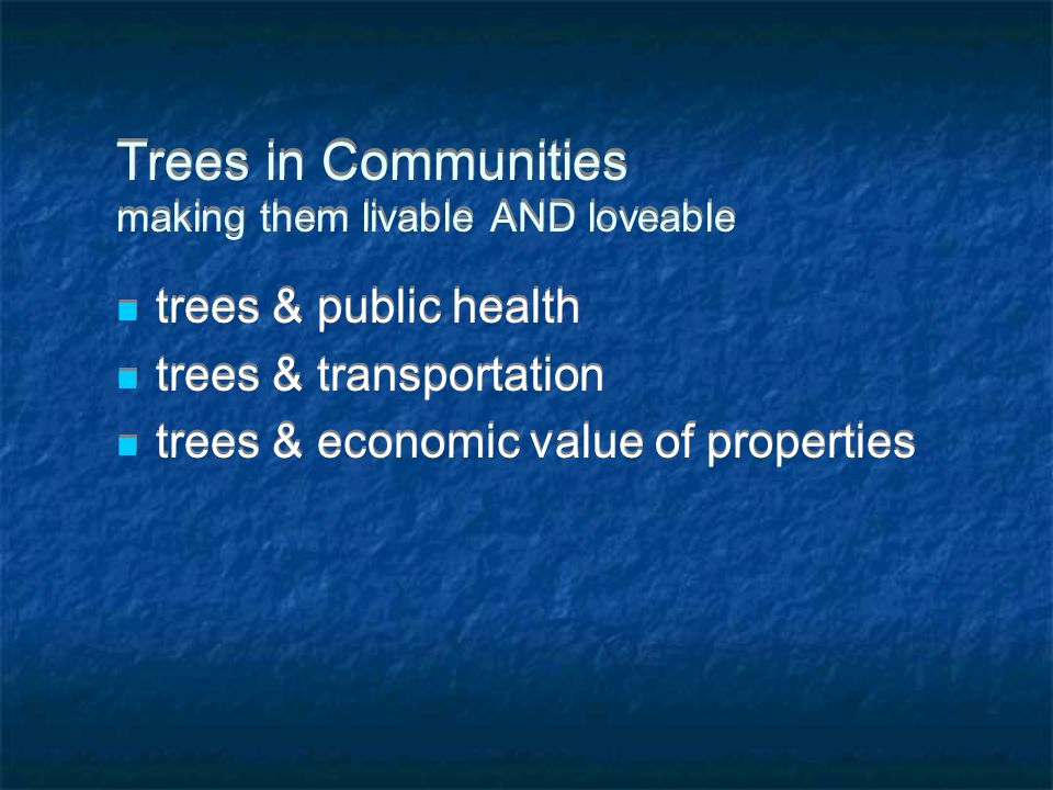Trees in Communities making them livable AND loveable trees & public health trees & transportation trees & economic value of properties trees & public