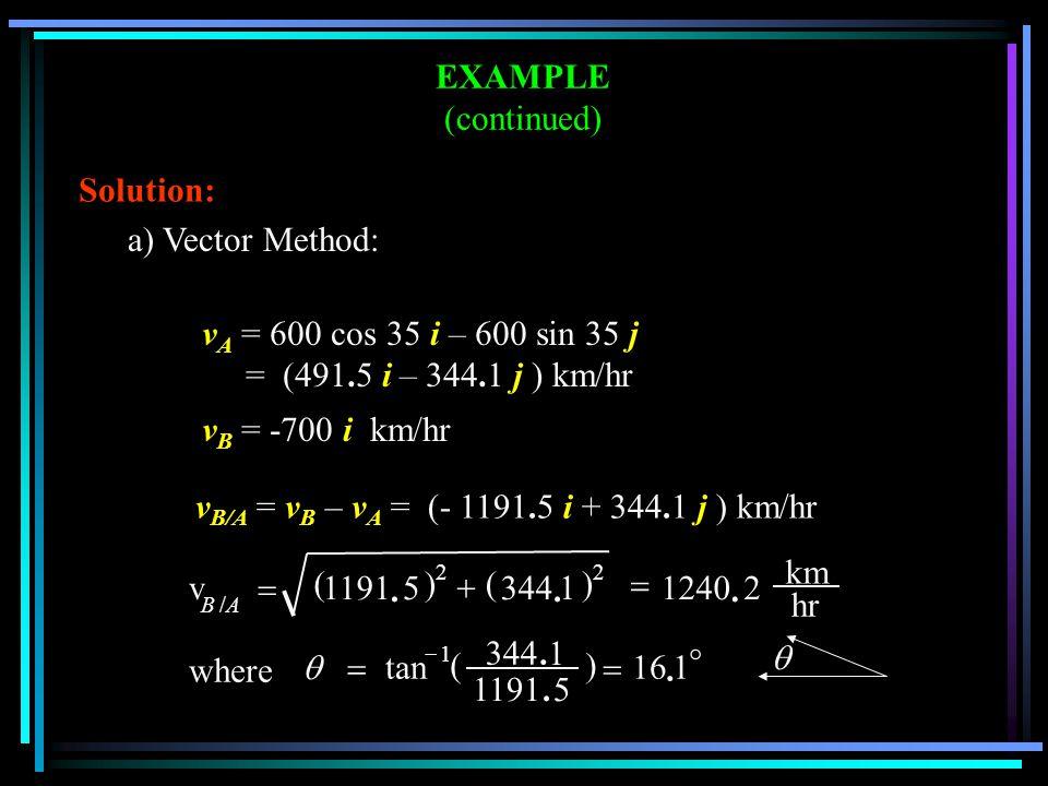 EXAMPLE (continued) v B/A = v B – v A = (- 1191.5 i + 344.1 j ) km/hr hr km v A B 2. 1240 ) 1. 344 ( ) 5. 1191 ( 22 /    where     1. 16 ) 5.11