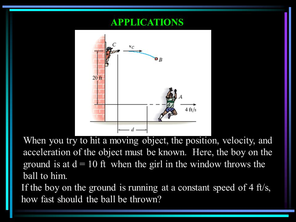 APPLICATIONS When you try to hit a moving object, the position, velocity, and acceleration of the object must be known. Here, the boy on the ground is