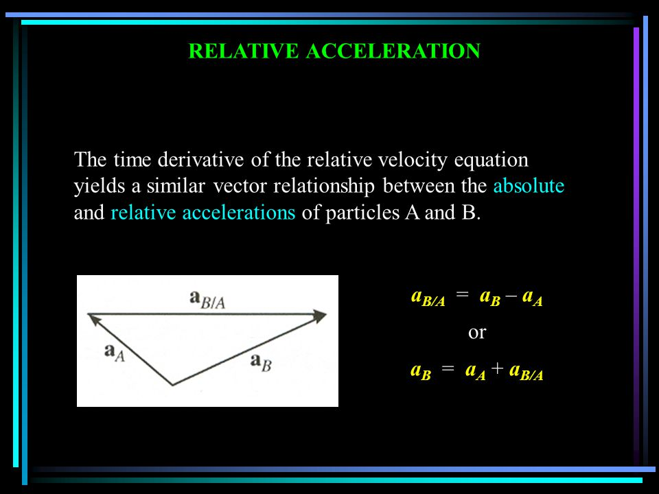 RELATIVE ACCELERATION The time derivative of the relative velocity equation yields a similar vector relationship between the absolute and relative acc