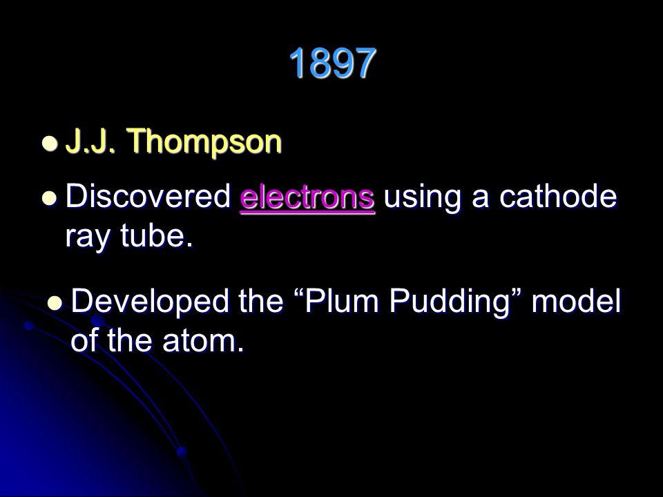 1897 J.J.Thompson J.J. Thompson Discovered electrons using a cathode ray tube.
