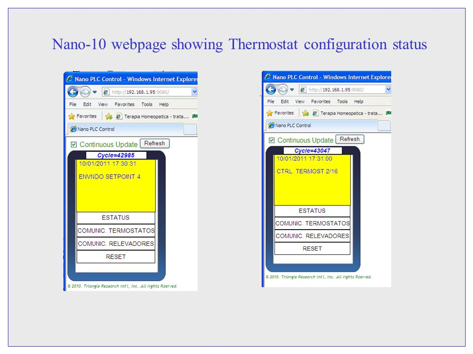 Nano-10 webpage showing Thermostat configuration status