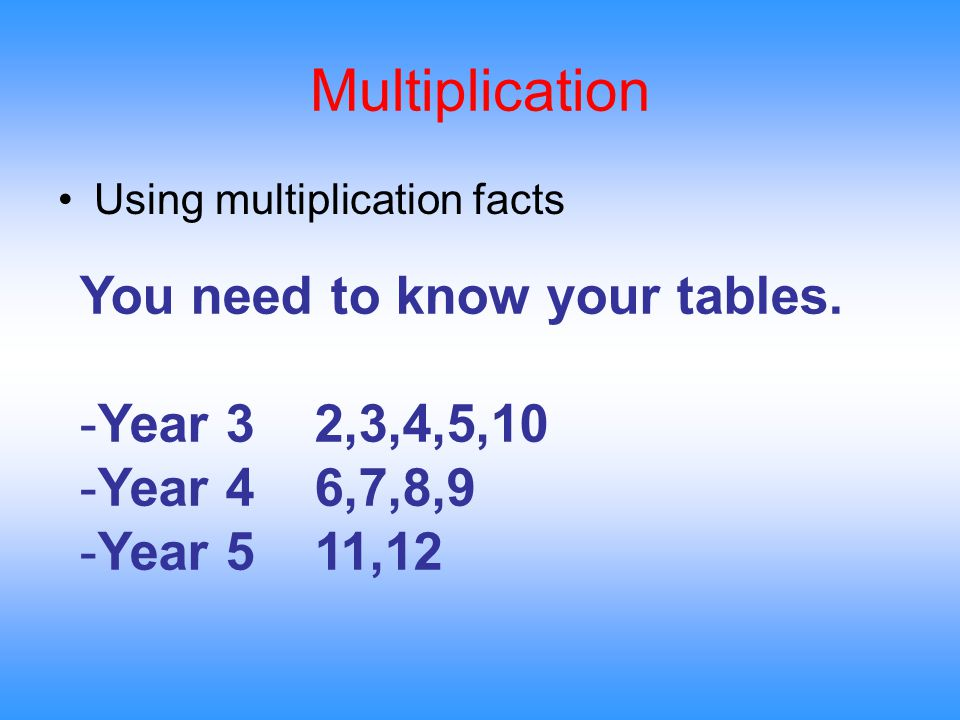 Multiplication Using multiplication facts You need to know your tables.