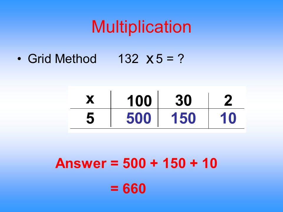 Multiplication Grid Method 132 5 = ? x 100 30 5 500 150 x Answer = 500 + 150 + 10 = 660 2 10