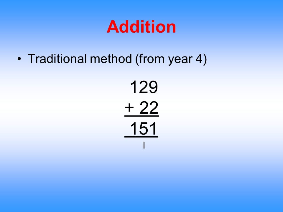 Addition Traditional method (from year 4) 129 + 22 151