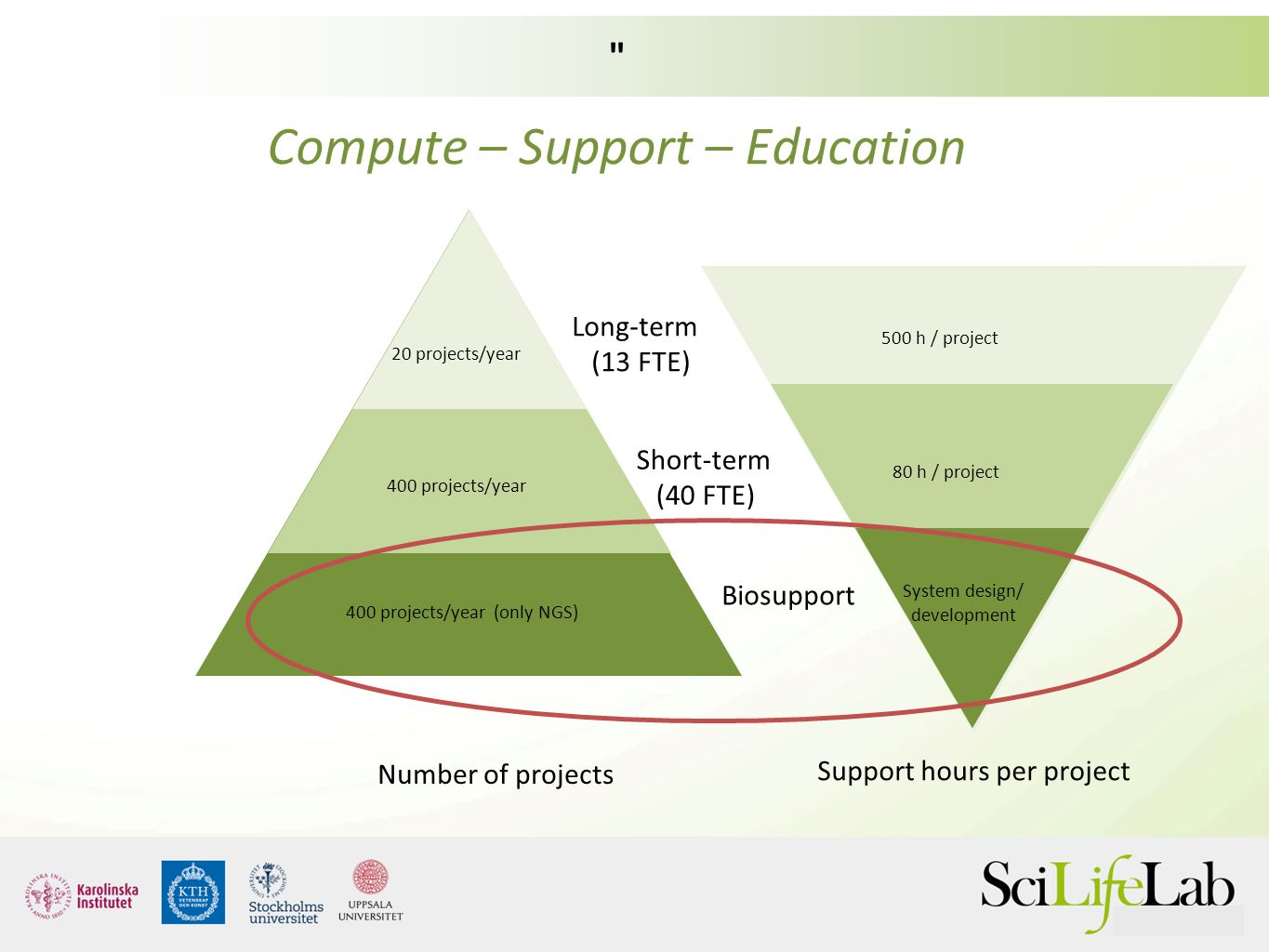 Short-term (40 FTE) Long-term (13 FTE) Biosupport Number of projects Support hours per project 20 projects/year 400 projects/year 500 h / project 80 h
