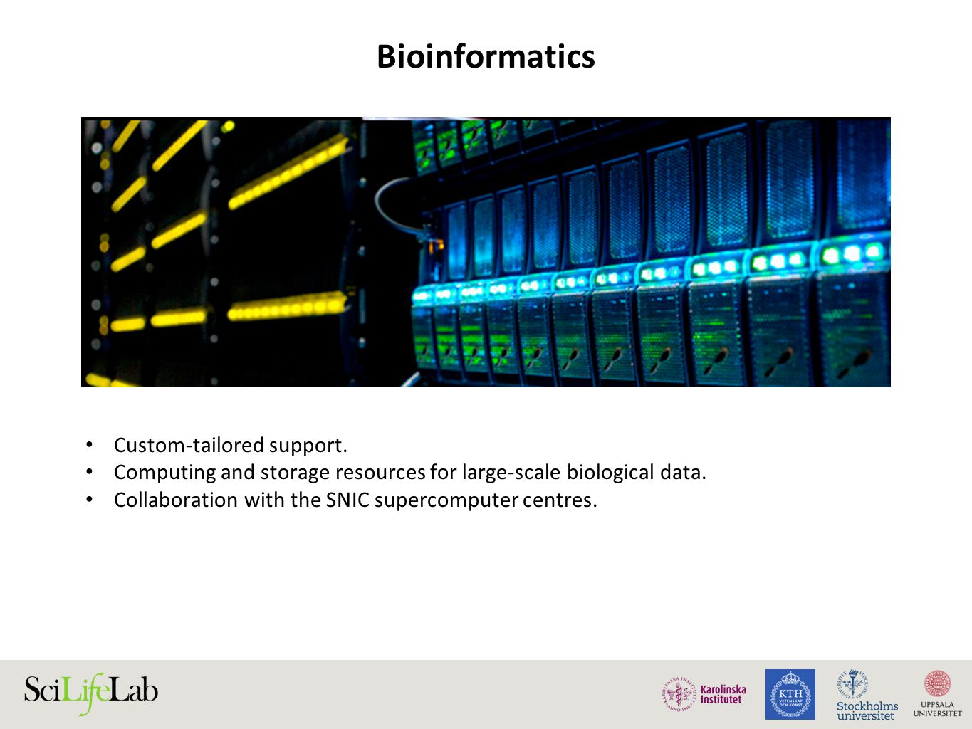 Focus areas 2014 Genome annotation platform –expansion with genome assembly activities Pipelines infrastructure Mosler – secure compute and storage –in close collaboration with SNIC/UPPMAX Improved support request management Data publishing Increased training activities Nordic collaborations – Nordic ELIXIR and NeIC European collaborations – ELIXIR and RDA Improved coordination with WABI and UPPNEX 24