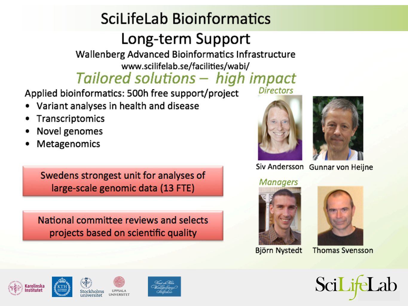 Senior bioinformaticians working in your project 500 h for free.