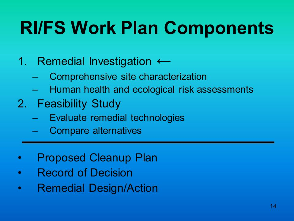 14 RI/FS Work Plan Components 1.Remedial Investigation ← –Comprehensive site characterization –Human health and ecological risk assessments 2.Feasibility Study –Evaluate remedial technologies –Compare alternatives Proposed Cleanup Plan Record of Decision Remedial Design/Action