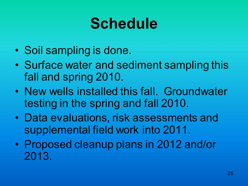 25 Schedule Soil sampling is done. Surface water and sediment sampling this fall and spring 2010.