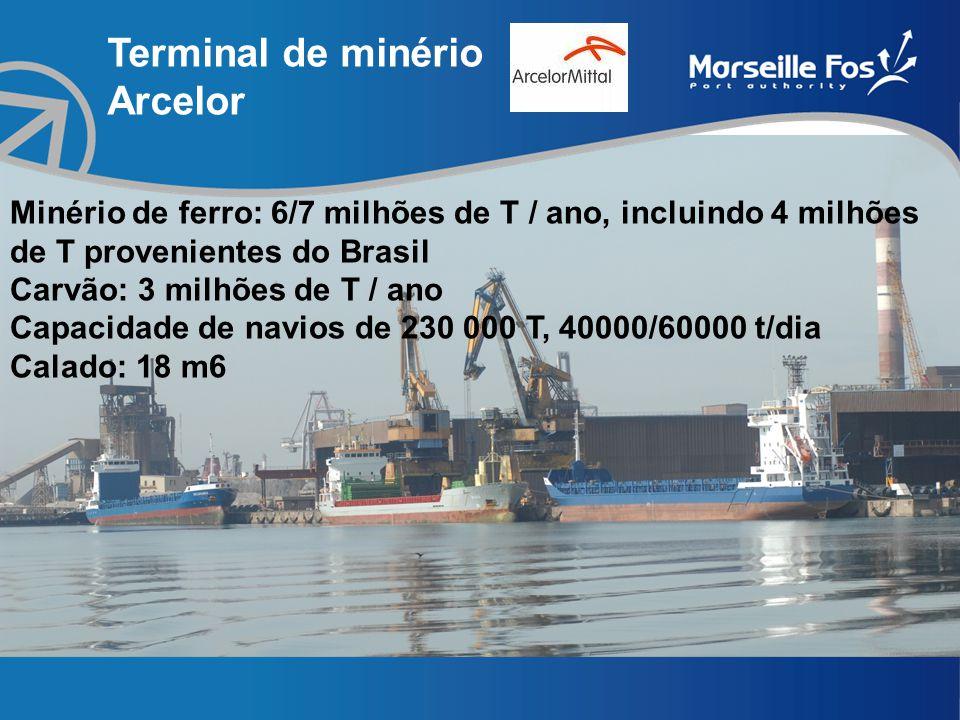 Terminal de minério Arcelor Minério de ferro: 6/7 milhões de T / ano, incluindo 4 milhões de T provenientes do Brasil Carvão: 3 milhões de T / ano Capacidade de navios de 230 000 T, 40000/60000 t/dia Calado: 18 m6