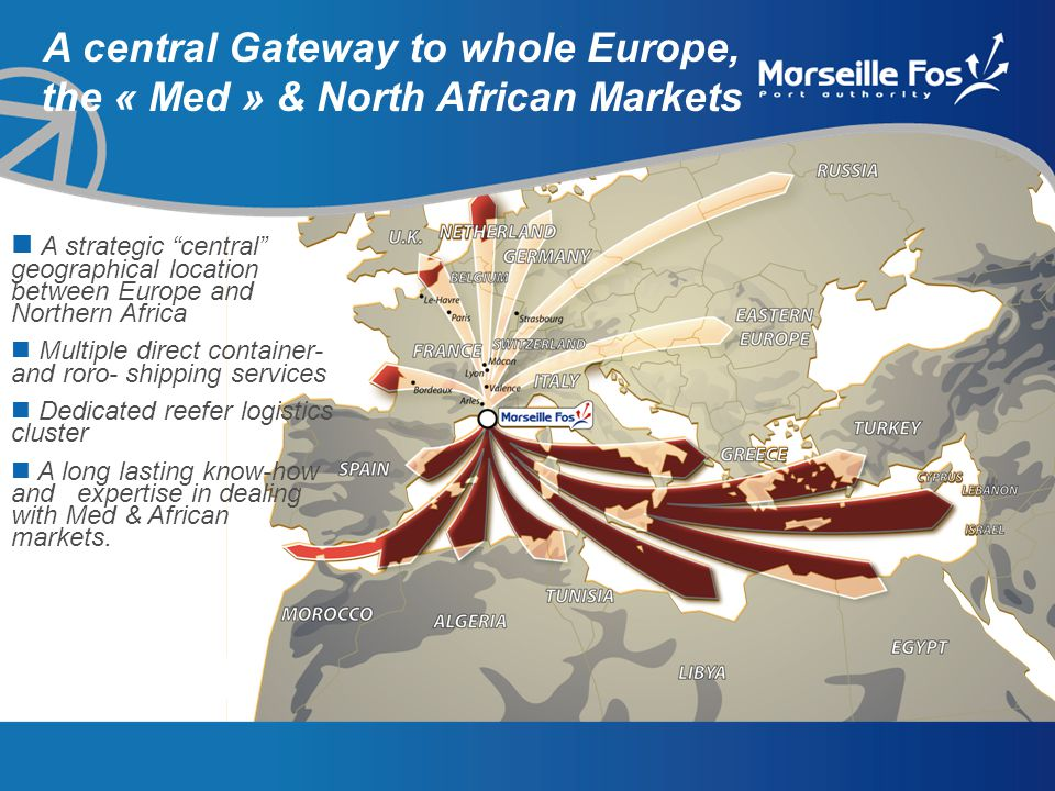 A central Gateway to whole Europe, the « Med » & North African Markets A strategic central geographical location between Europe and Northern Africa Multiple direct container- and roro- shipping services Dedicated reefer logistics cluster A long lasting know-how and expertise in dealing with Med & African markets.