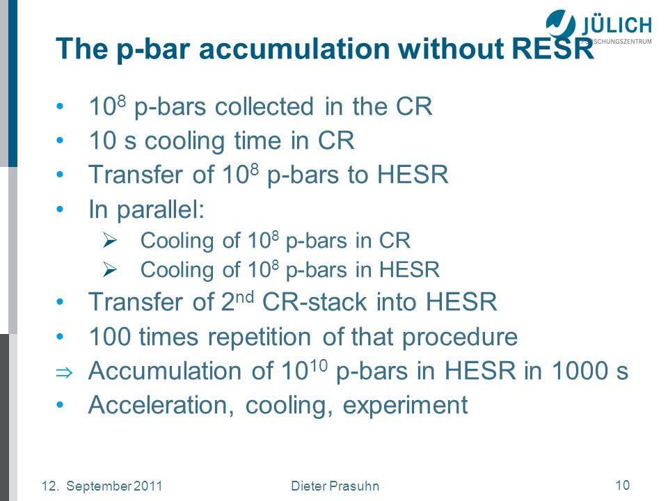 Dieter Prasuhn12. September 2011 10 The p-bar accumulation without RESR 10 8 p-bars collected in the CR 10 s cooling time in CR Transfer of 10 8 p-bar