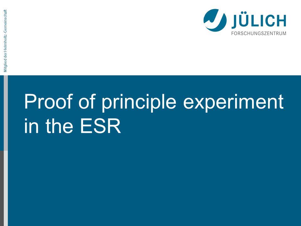 Mitglied der Helmholtz-Gemeinschaft Proof of principle experiment in the ESR