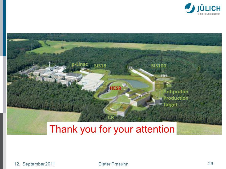 Dieter Prasuhn12. September 2011 29 Thank you for your attention
