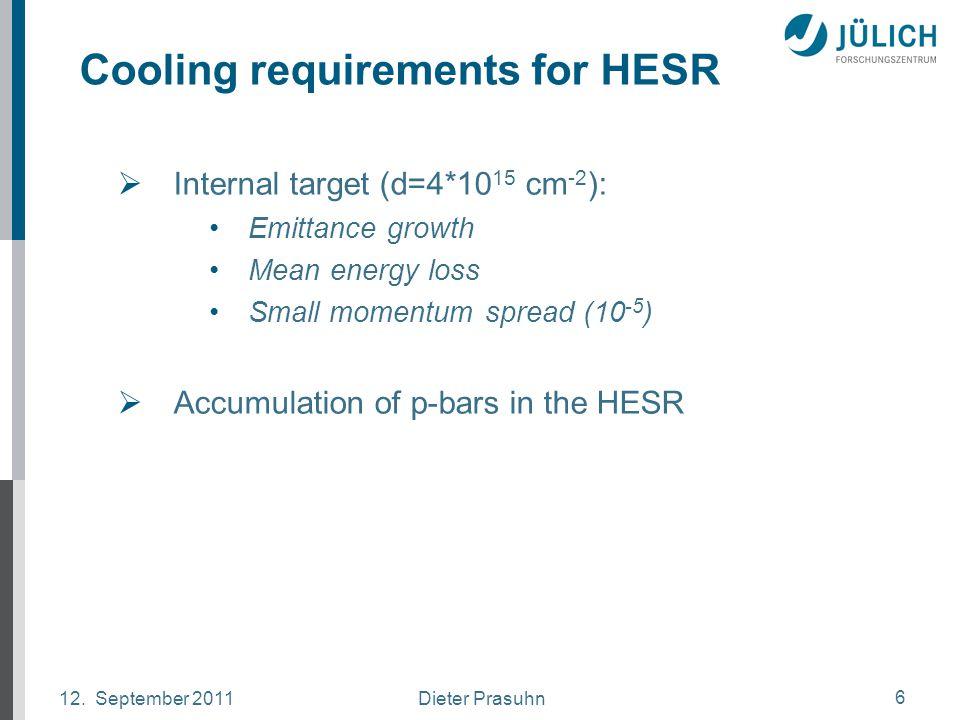 Dieter Prasuhn12. September 2011 6 Cooling requirements for HESR  Internal target (d=4*10 15 cm -2 ): Emittance growth Mean energy loss Small momentu