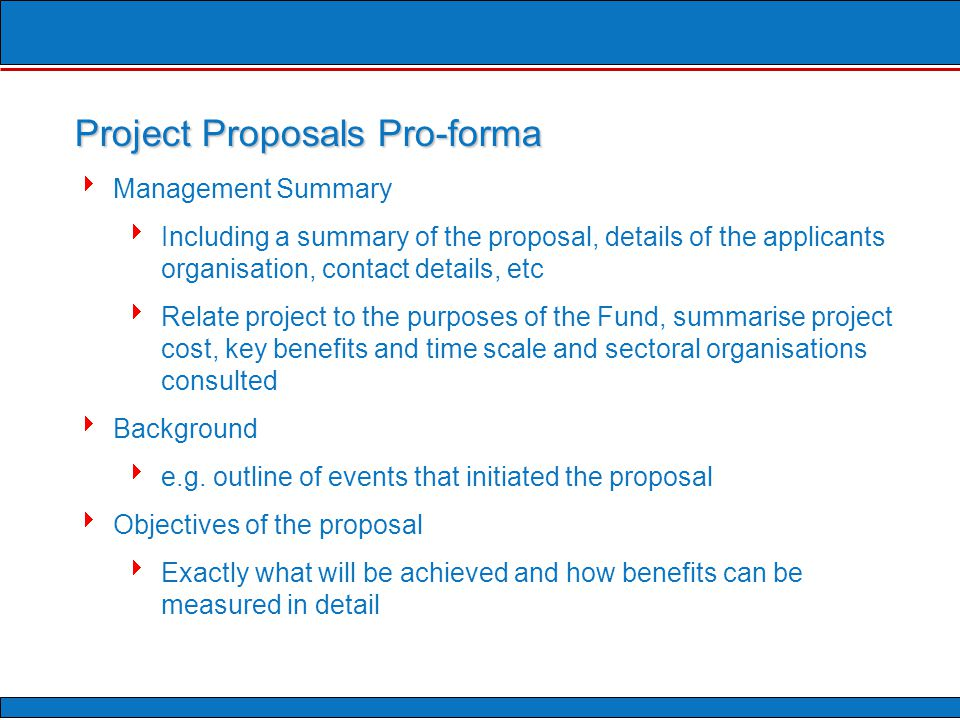  Management Summary  Including a summary of the proposal, details of the applicants organisation, contact details, etc  Relate project to the purposes of the Fund, summarise project cost, key benefits and time scale and sectoral organisations consulted  Background  e.g.