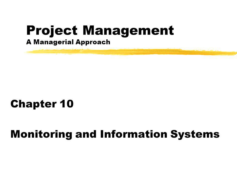 Project Management A Managerial Approach Chapter 10 Monitoring and Information Systems