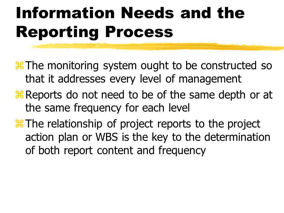 Information Needs and the Reporting Process zThe monitoring system ought to be constructed so that it addresses every level of management zReports do