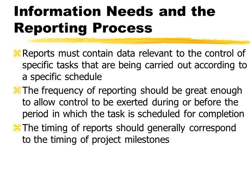 Information Needs and the Reporting Process zReports must contain data relevant to the control of specific tasks that are being carried out according