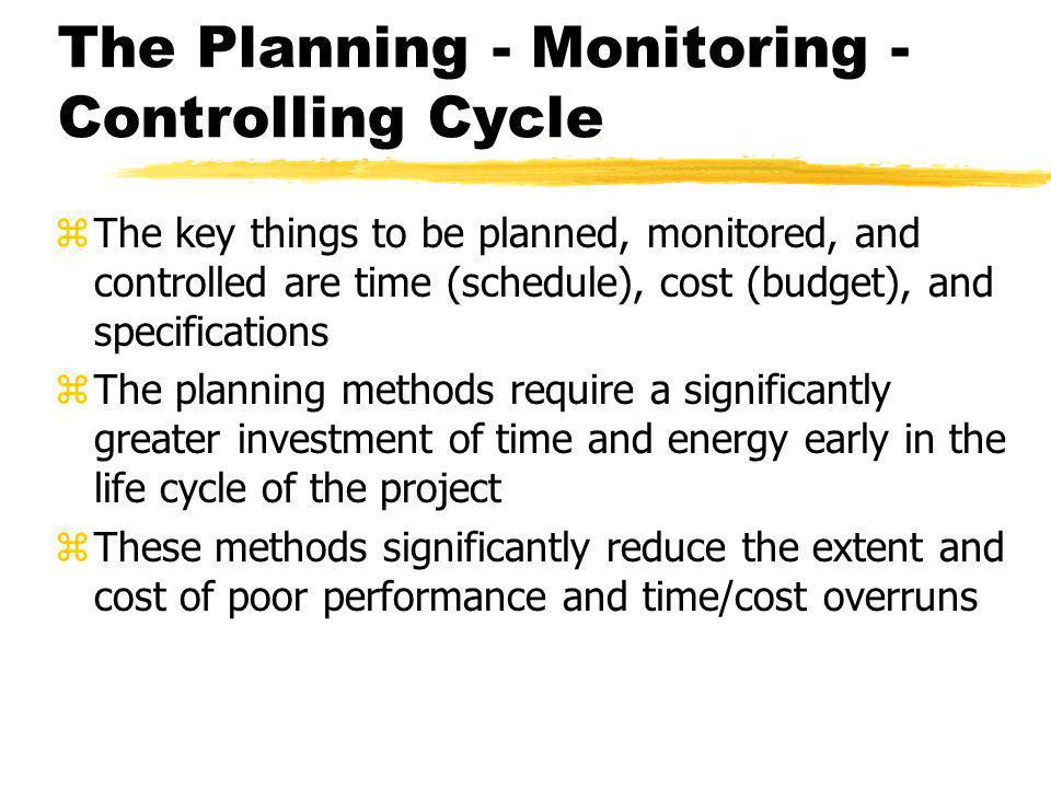 The Planning - Monitoring - Controlling Cycle zThe key things to be planned, monitored, and controlled are time (schedule), cost (budget), and specifi
