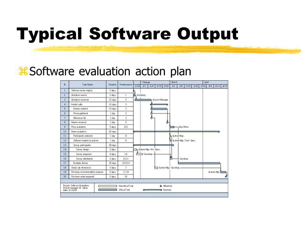 Typical Software Output zSoftware evaluation action plan