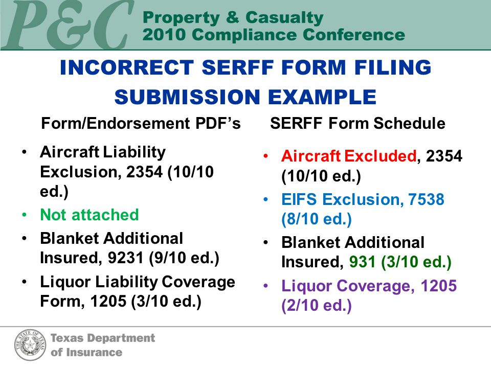 INCORRECT SERFF FORM FILING SUBMISSION EXAMPLE SERFF Form ScheduleForm/Endorsement PDF's Aircraft Excluded, 2354 (10/10 ed.) EIFS Exclusion, 7538 (8/10 ed.) Blanket Additional Insured, 931 (3/10 ed.) Liquor Coverage, 1205 (2/10 ed.) Aircraft Liability Exclusion, 2354 (10/10 ed.) Not attached Blanket Additional Insured, 9231 (9/10 ed.) Liquor Liability Coverage Form, 1205 (3/10 ed.)
