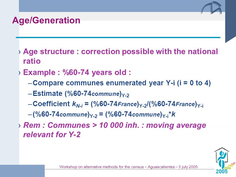 Workshop on alternative methods for the census – Aguascalientes – 3 july 2005 Age/Generation › Age structure : correction possible with the national ratio › Example : %60-74 years old : –Compare communes enumerated year Y-i (i = 0 to 4) –Estimate (%60-74 commune ) Y-2 –Coefficient k N-i = (%60-74 France ) Y-2 /(%60-74 France ) Y-i –(%60-74 commune ) Y-2 = (%60-74 commune ) Y-i *k › Rem : Communes > 10 000 inh.
