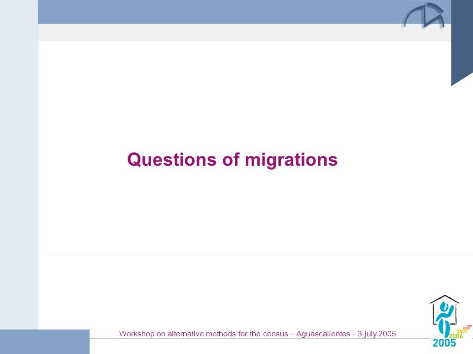 Workshop on alternative methods for the census – Aguascalientes – 3 july 2005 Questions of migrations