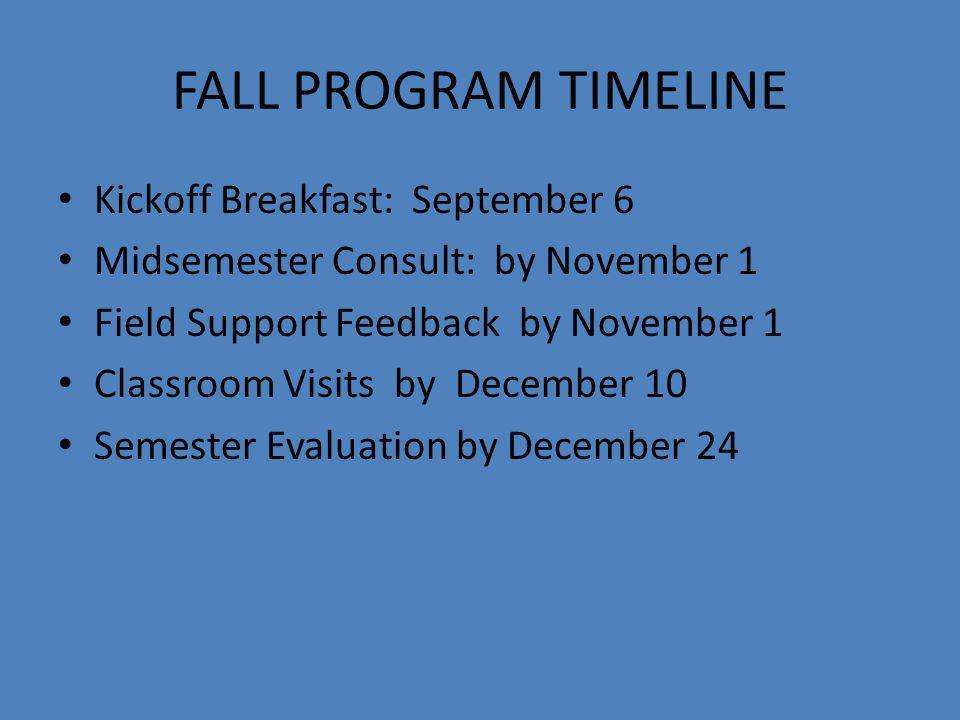 FALL PROGRAM TIMELINE Kickoff Breakfast: September 6 Midsemester Consult: by November 1 Field Support Feedback by November 1 Classroom Visits by December 10 Semester Evaluation by December 24