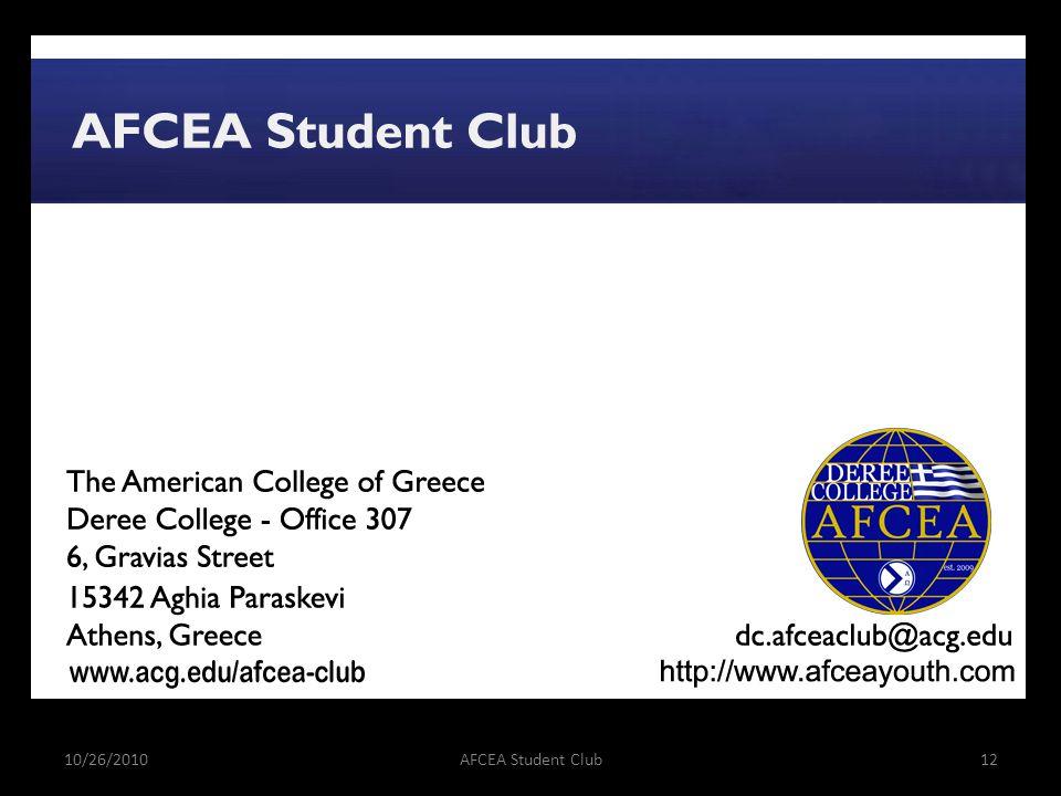 10/26/2010AFCEA Student Club12