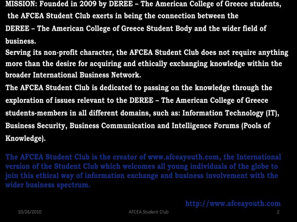 10/26/2010AFCEA Student Club2